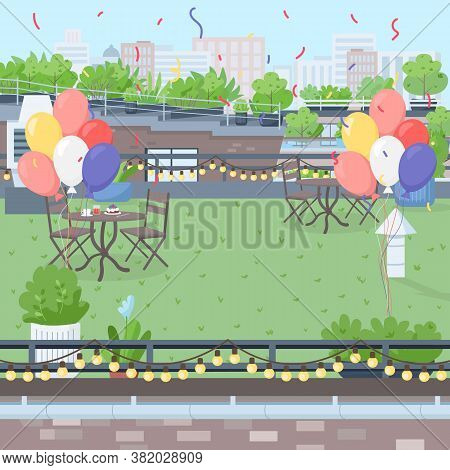 Rooftop Decorated Terrace Flat Color Vector Illustration. Furniture And Decoration For Surprise Birt
