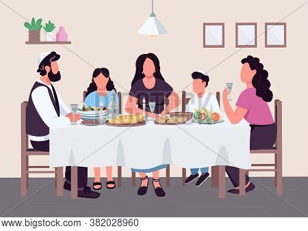 Jewish Family Meal Flat Color Vector Illustration. Parents With Children At Table To Eat Traditional