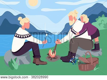 Nordic Family Picnic Flat Color Vector Illustration. Camping Together For Bonding Time. Roast Marshm