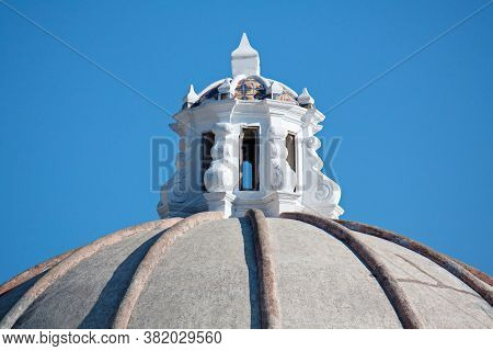 Top Of The Dome Of Iglesia De La Merced, Sunny Day, Antigua Guatemala