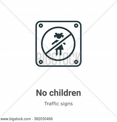 No children icon isolated on white background from traffic signs collection. No children icon trendy