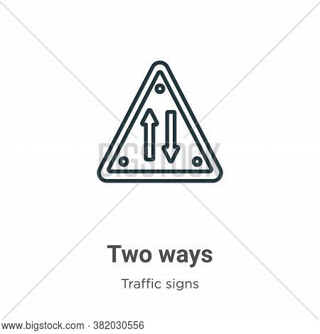 Two ways icon isolated on white background from traffic signs collection. Two ways icon trendy and m