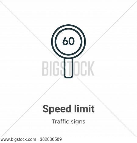 Speed limit icon isolated on white background from traffic signs collection. Speed limit icon trendy