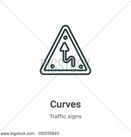 Curves icon isolated on white background from traffic signs collection. Curves icon trendy and moder