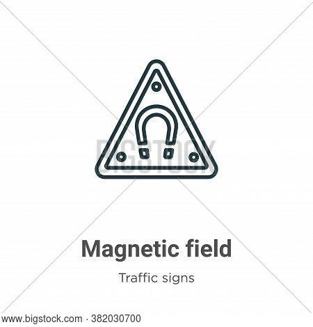 Magnetic field icon isolated on white background from traffic signs collection. Magnetic field icon