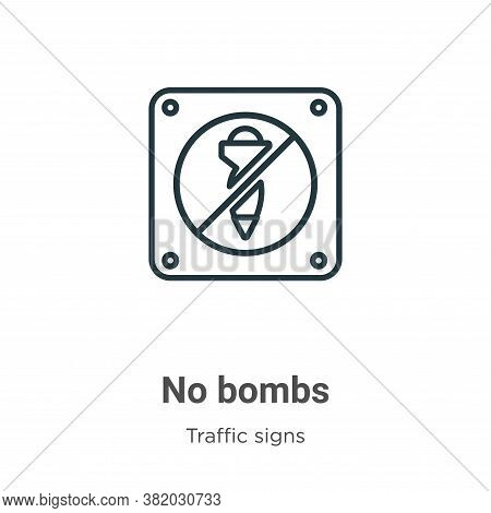No bombs icon isolated on white background from traffic signs collection. No bombs icon trendy and m