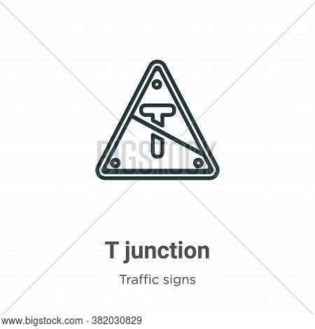 T junction icon isolated on white background from traffic signs collection. T junction icon trendy a
