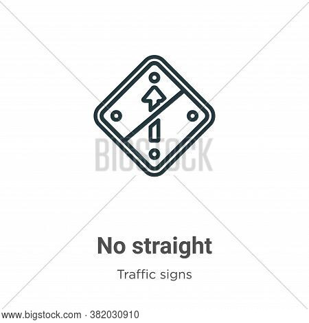 No straight icon isolated on white background from traffic signs collection. No straight icon trendy