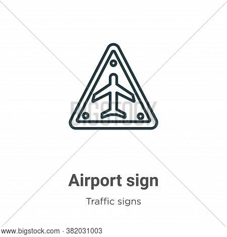 Airport sign icon isolated on white background from traffic signs collection. Airport sign icon tren