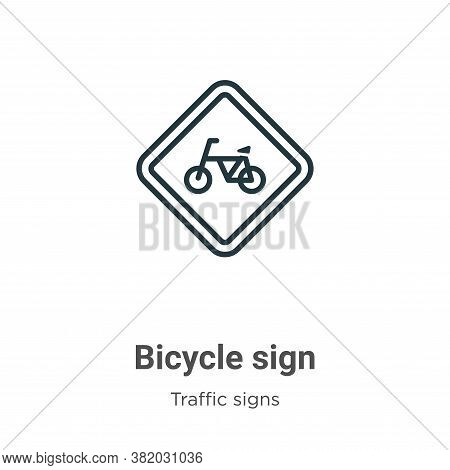 Bicycle sign icon isolated on white background from traffic signs collection. Bicycle sign icon tren