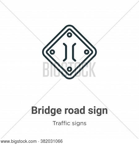 Bridge road sign icon isolated on white background from traffic signs collection. Bridge road sign i
