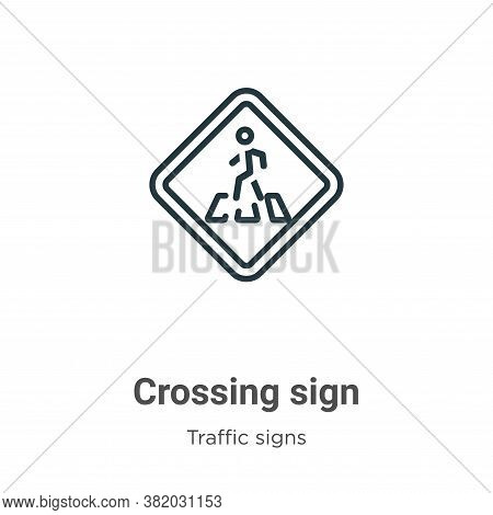 Crossing sign icon isolated on white background from traffic signs collection. Crossing sign icon tr