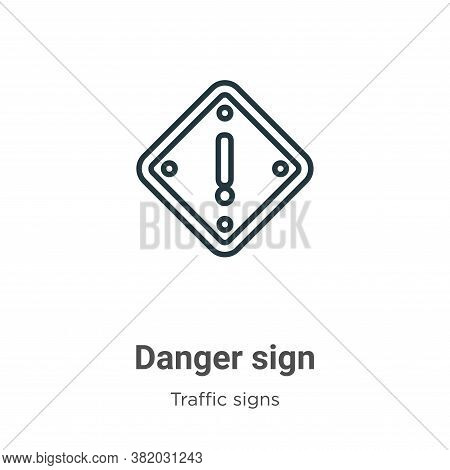 Danger sign icon isolated on white background from traffic signs collection. Danger sign icon trendy