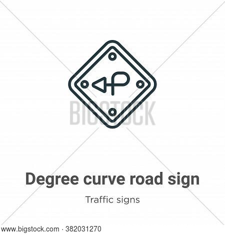 Degree curve road sign icon isolated on white background from traffic signs collection. Degree curve