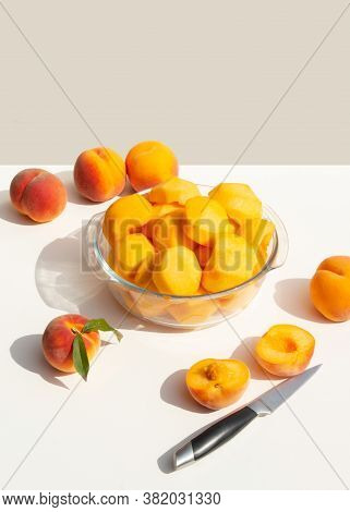 A Plate With Halved Peeled Peaches. Harvesting For Homemade Peach Jam.