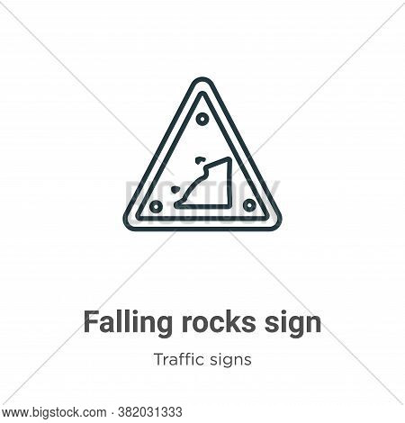Falling rocks sign icon isolated on white background from traffic signs collection. Falling rocks si