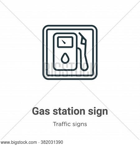 Gas station sign icon isolated on white background from traffic signs collection. Gas station sign i