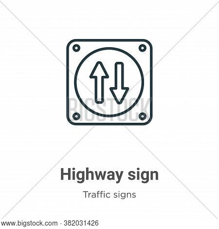Highway sign icon isolated on white background from traffic signs collection. Highway sign icon tren
