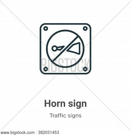 Horn sign icon isolated on white background from traffic signs collection. Horn sign icon trendy and