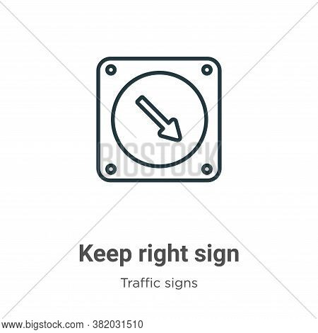 Keep right sign icon isolated on white background from traffic signs collection. Keep right sign ico