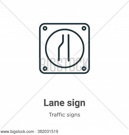 Lane sign icon isolated on white background from traffic signs collection. Lane sign icon trendy and