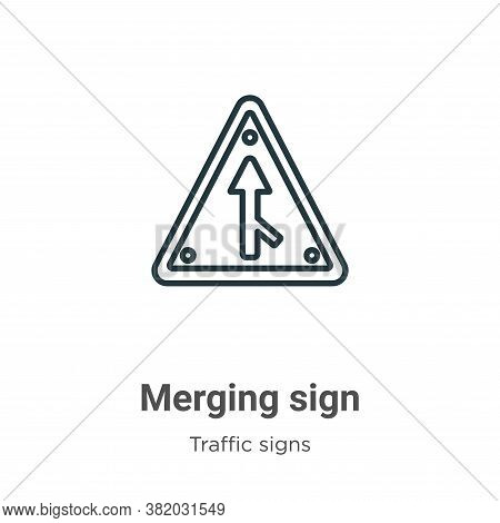 Merging sign icon isolated on white background from traffic signs collection. Merging sign icon tren