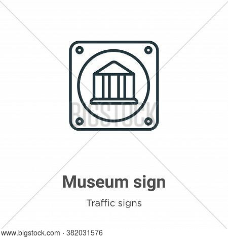 Museum sign icon isolated on white background from traffic signs collection. Museum sign icon trendy