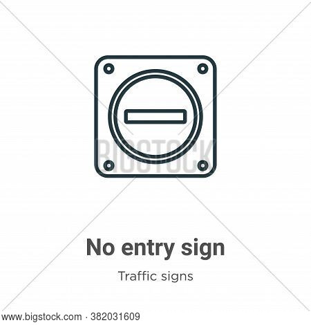 No entry sign icon isolated on white background from traffic signs collection. No entry sign icon tr