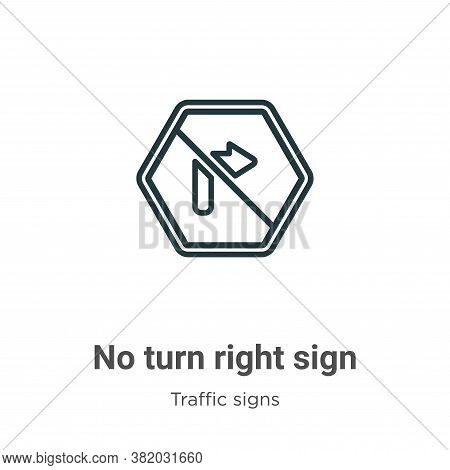 No turn right sign icon isolated on white background from traffic signs collection. No turn right si