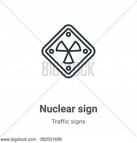 Nuclear sign icon isolated on white background from traffic signs collection. Nuclear sign icon tren