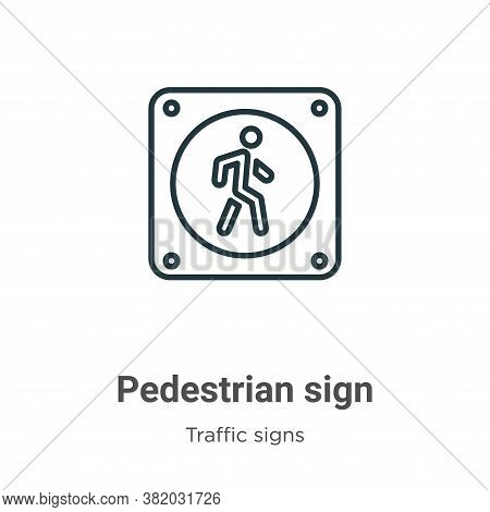 Pedestrian sign icon isolated on white background from traffic signs collection. Pedestrian sign ico