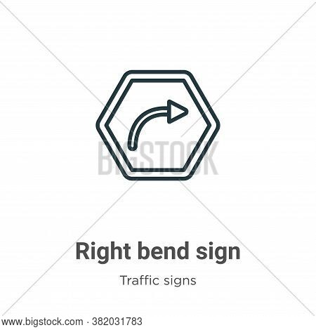 Right bend sign icon isolated on white background from traffic signs collection. Right bend sign ico