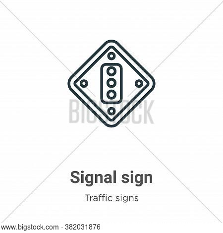 Signal sign icon isolated on white background from traffic signs collection. Signal sign icon trendy