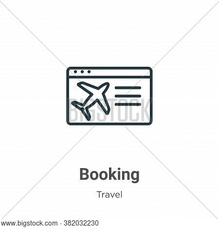 Booking icon isolated on white background from travel collection. Booking icon trendy and modern Boo