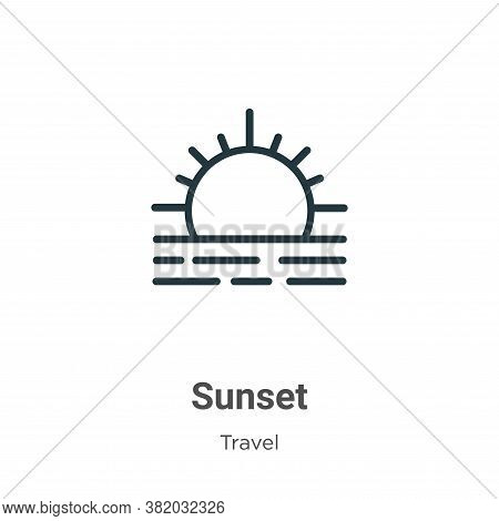 Sunset icon isolated on white background from travel collection. Sunset icon trendy and modern Sunse