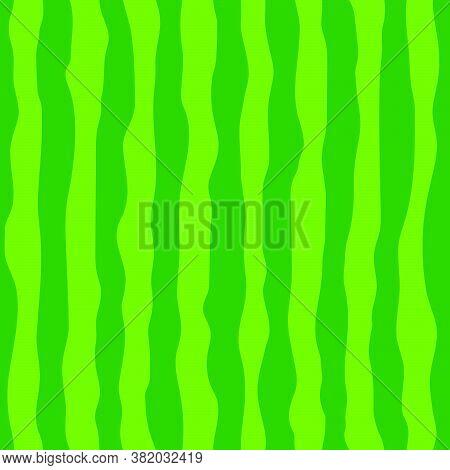 Watermelon Green Rind (skin, Peel) Seamless Pattern. Dark And Light Green Stipes. Vector Illustratio