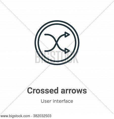 Crossed arrows icon isolated on white background from user interface collection. Crossed arrows icon