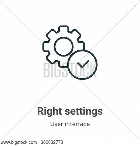 Right settings icon isolated on white background from user interface collection. Right settings icon