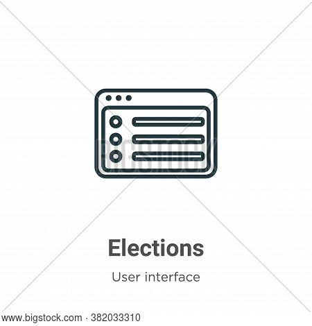 Elections icon isolated on white background from user interface collection. Elections icon trendy an