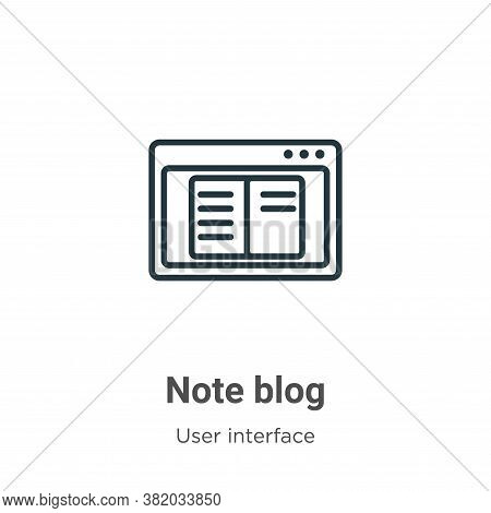 Note blog icon isolated on white background from user interface collection. Note blog icon trendy an