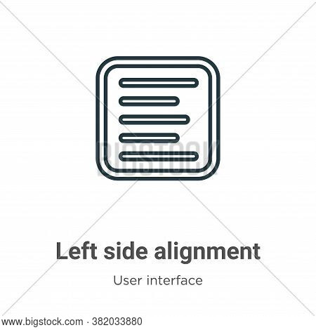 Left side alignment icon isolated on white background from user interface collection. Left side alig