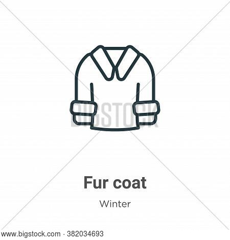 Fur coat icon isolated on white background from winter collection. Fur coat icon trendy and modern F