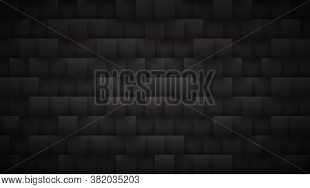 3d Square Blocks Pattern High Technology Dark Mode Abstract Background. Three Dimensional Science Co