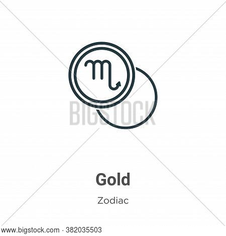 Gold icon isolated on white background from zodiac collection. Gold icon trendy and modern Gold symb