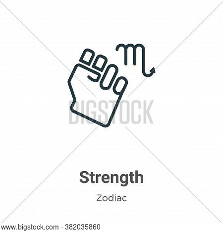 Strength icon isolated on white background from zodiac collection. Strength icon trendy and modern S
