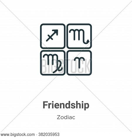 Friendship icon isolated on white background from zodiac collection. Friendship icon trendy and mode