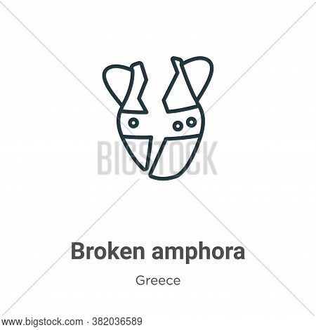 Broken amphora icon isolated on white background from greece collection. Broken amphora icon trendy