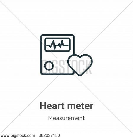 Heart meter icon isolated on white background from measurement collection. Heart meter icon trendy a