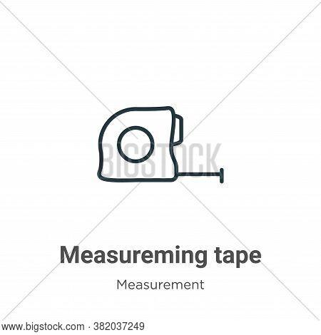 Measureming tape icon isolated on white background from measurement collection. Measureming tape ico