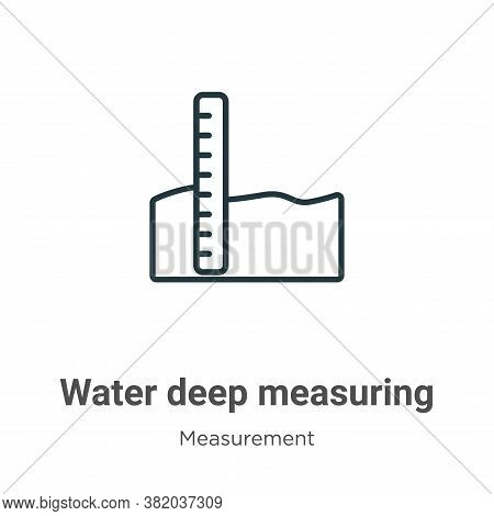 Water deep measuring icon isolated on white background from measurement collection. Water deep measu